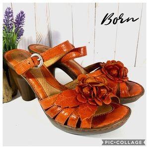 Born Cornflower fall orange floral leather heels 9